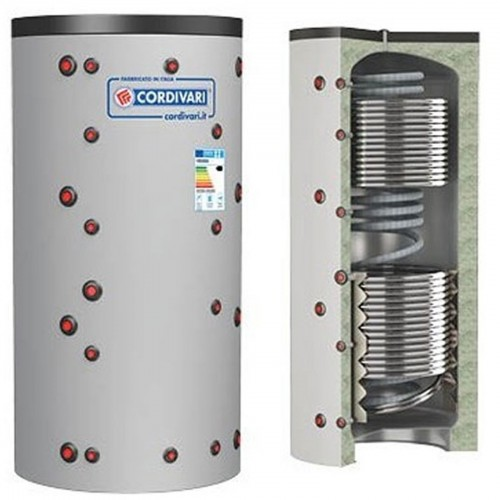 Cordivari Puffer ECO-COMBI 3 Bollitore Riscaldamento + Scambiatore ACS e 2 Scambiatori Fissi Litri 800