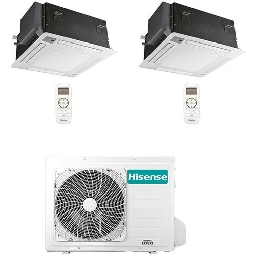 Climatizzatore Condizionatore Hisense Cassetta 4 vie R32 Dual Split Inverter 12000 + 18000 BTU con U.E. 2AMW70U4RXA
