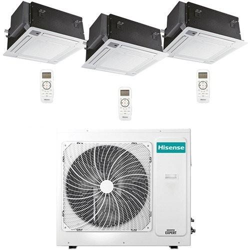 Climatizzatore Condizionatore Hisense Cassetta 4 vie R32 Trial Split Inverter 12000 + 12000 + 12000 BTU con U.E. 3AMW70U4RAA