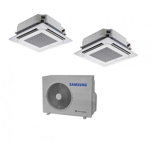 Climatizzatore SAMSUNG Dualsplit Cassetta 4 Vie WINDFREE  18000 + 18000 BTU  R-410