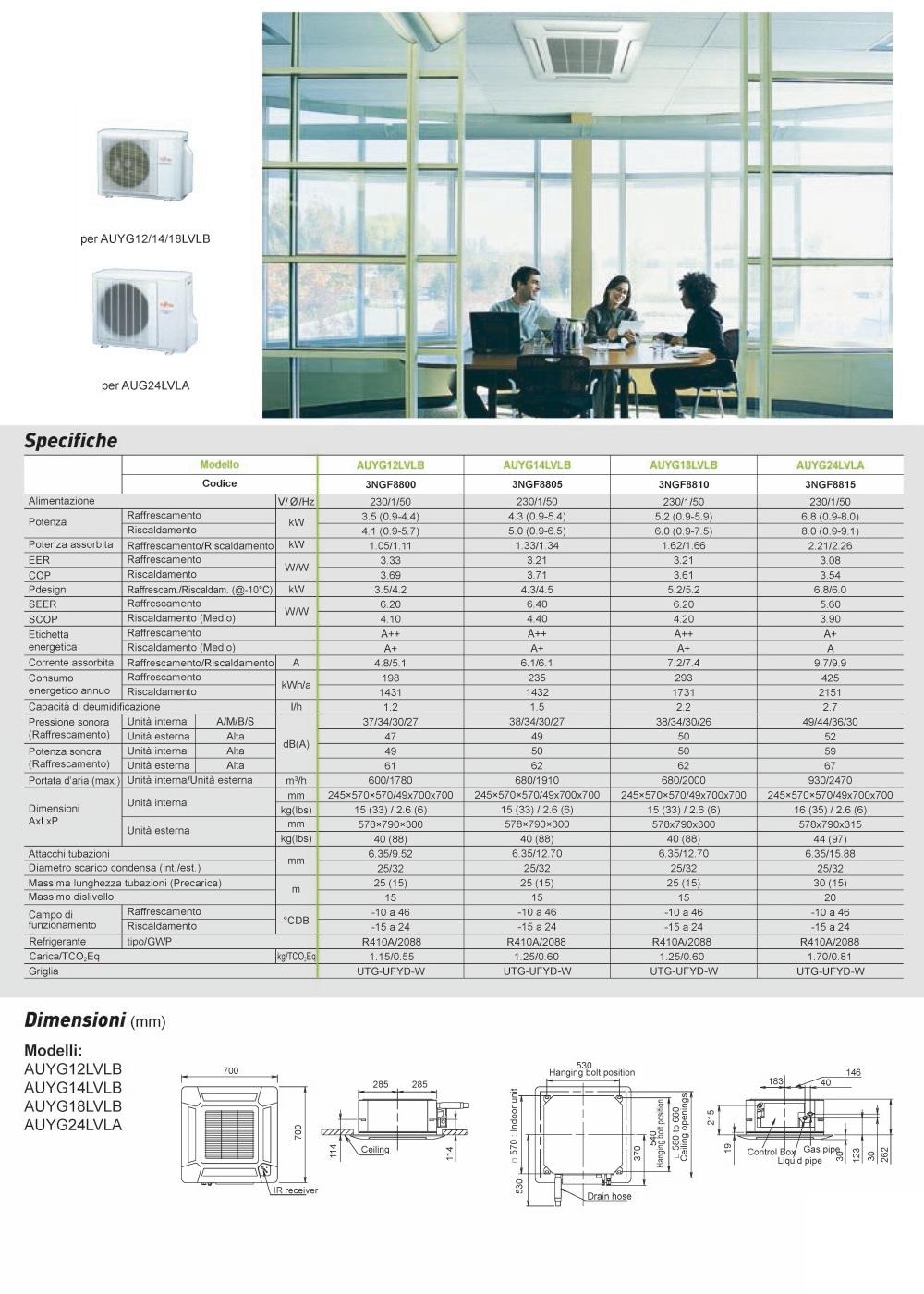 Climatizzatore Fujitsu Commerciale 14000 Btu Cassetta compatte LV