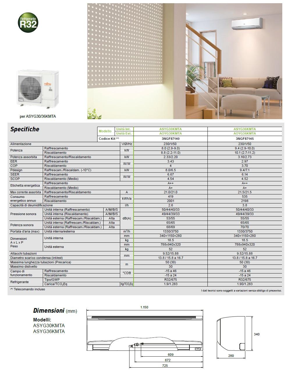 Climatizzatore Fujitsu Mono Split 36000 Btu ASYG36KMTA AOYG36KMTA
