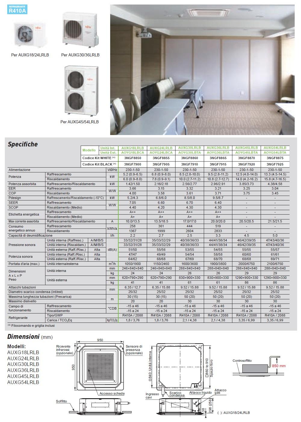Climatizzatore Fujitsu 18000 Btu Cassetta LR Circular Flow Bianco