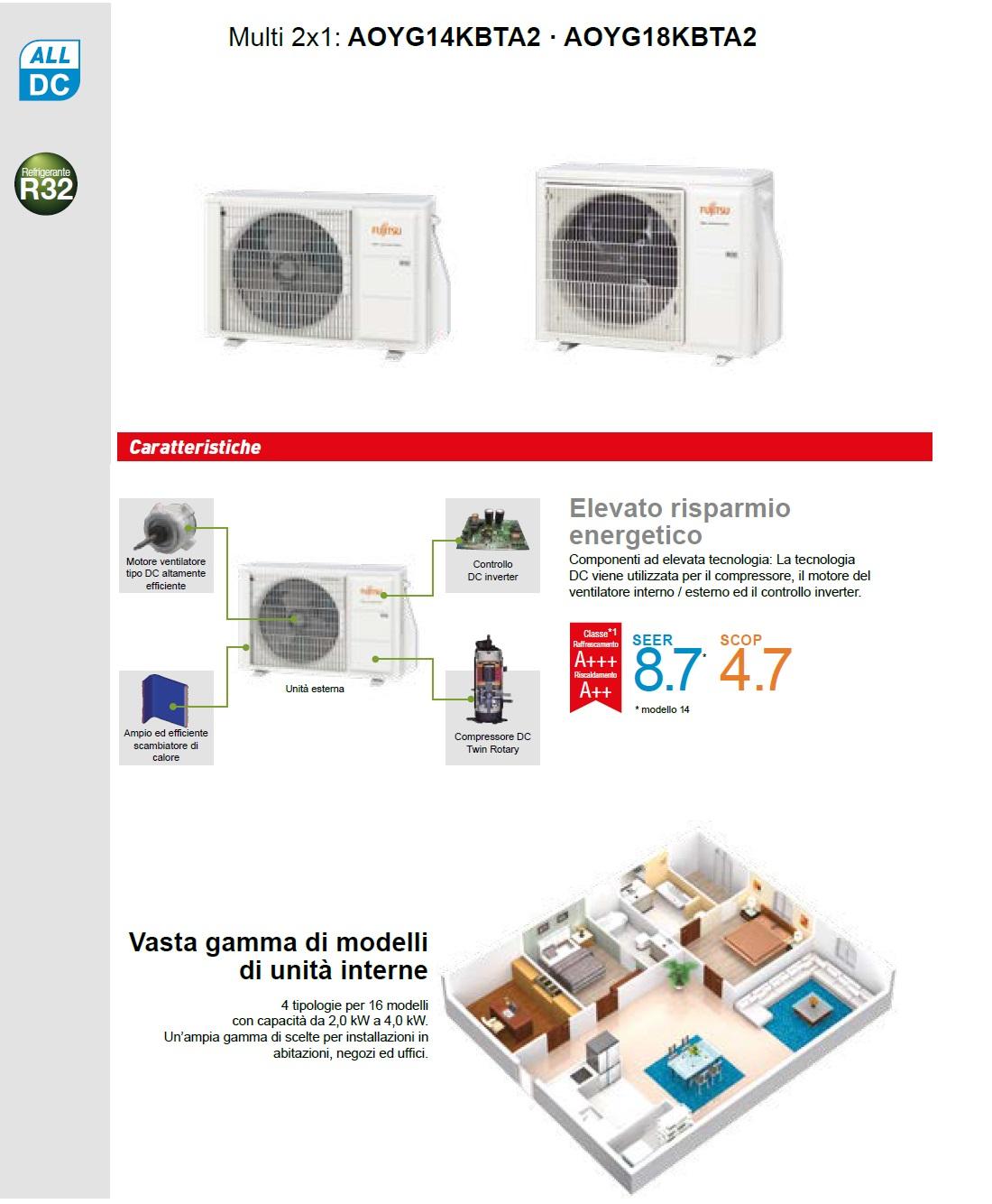 Climatizzatore Fujitsu Dual Split Parete 9+9 KE Argento AOYG18KBTA2