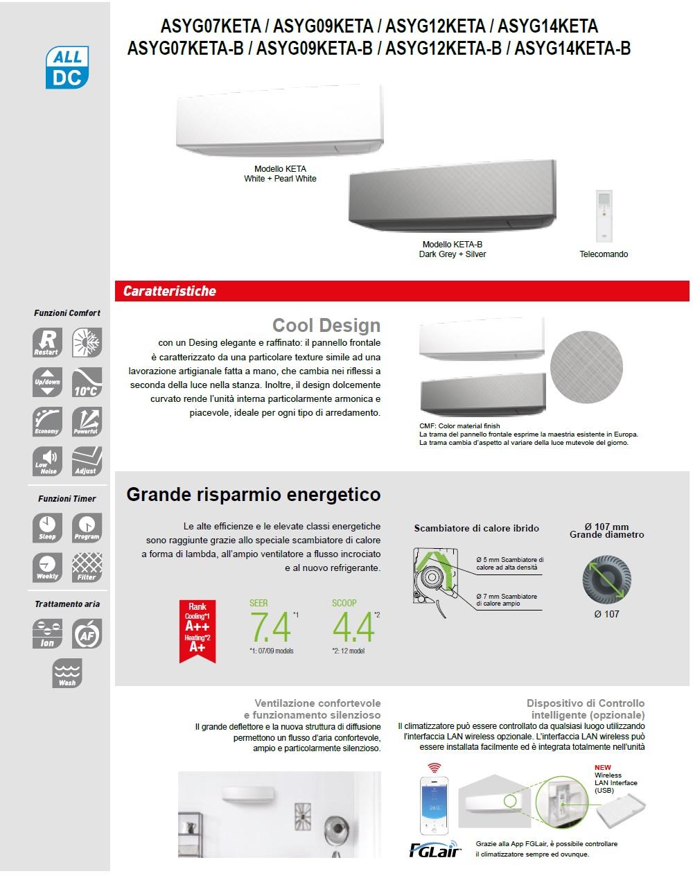 Climatizzatore Fujitsu Mono Split 9000 Btu ASYG09KETA-B AOYG09KETA
