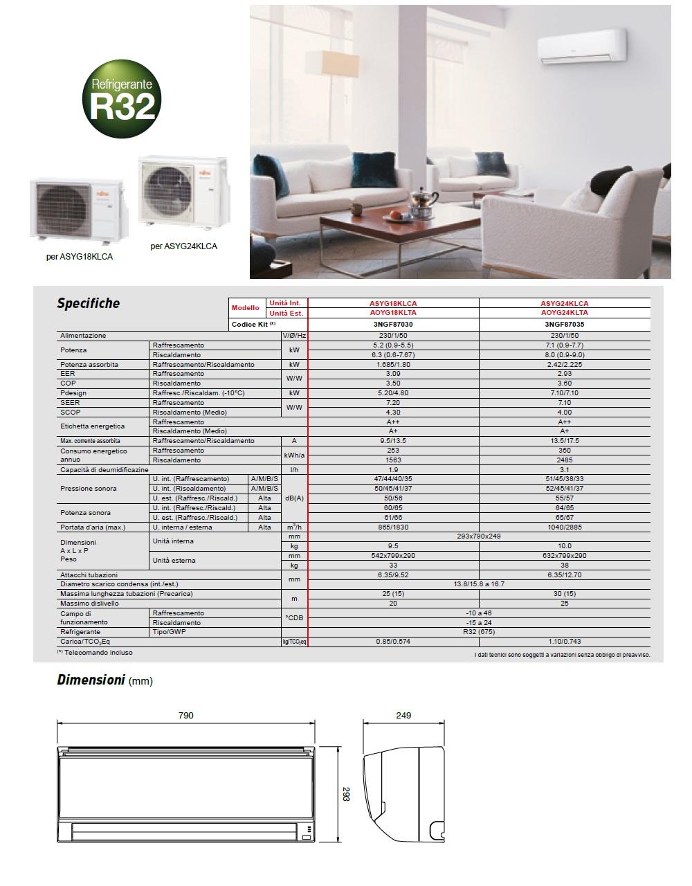 Climatizzatore Fujitsu Mono Split 18000 Btu ASYG18KLCA AOYG18KLTA