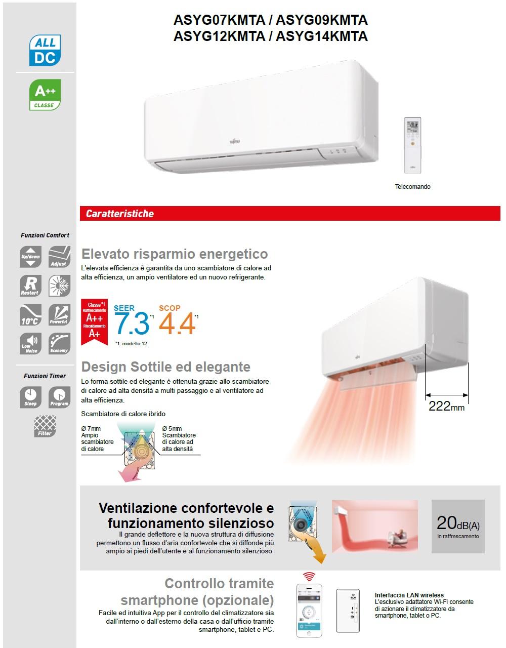 Climatizzatore Fujitsu Mono Split 7000 Btu ASYG07KMTA AOYG07KMTA