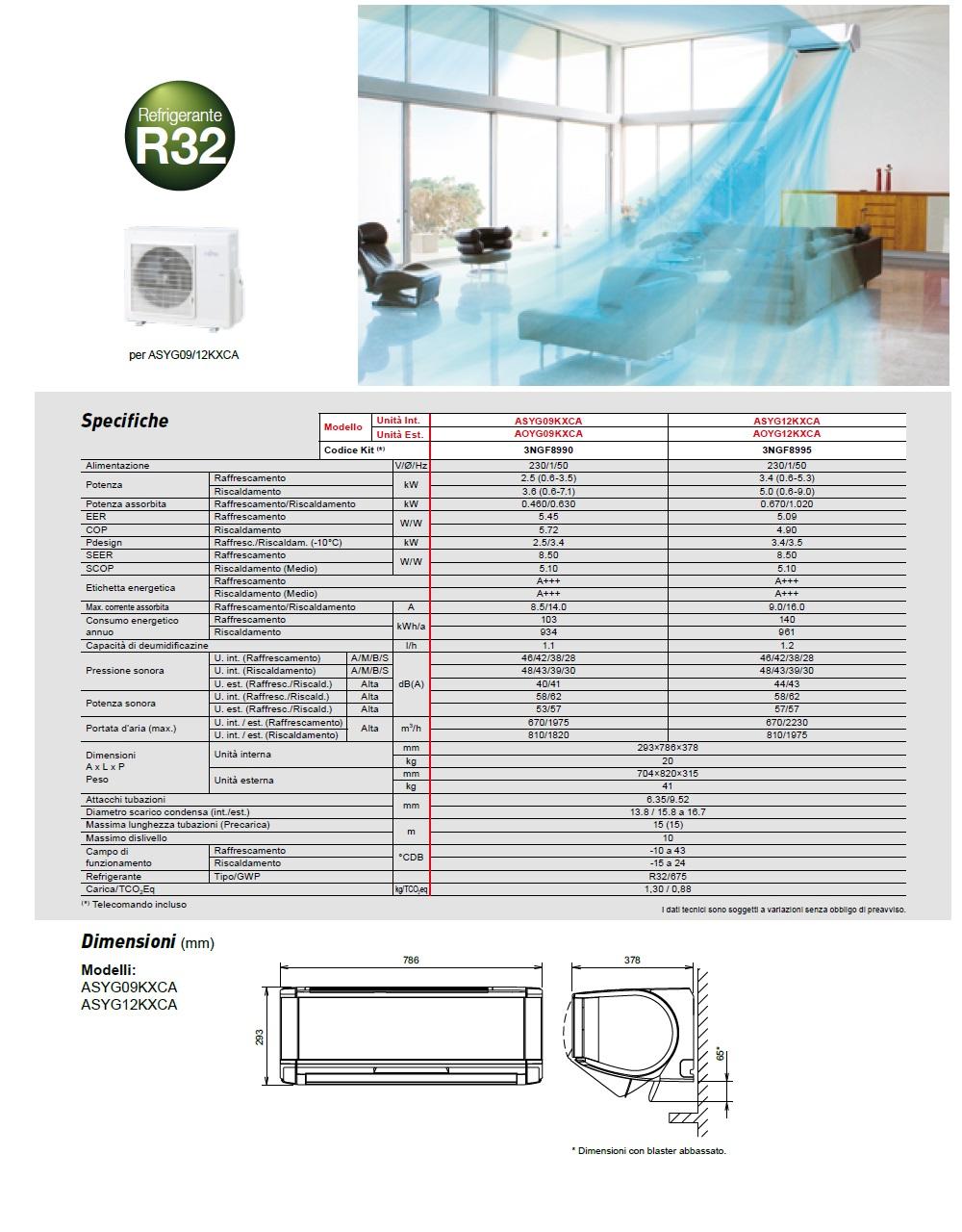 Climatizzatore Fujitsu Mono Split 9000 Btu Serie Nocria X A+++ A+++