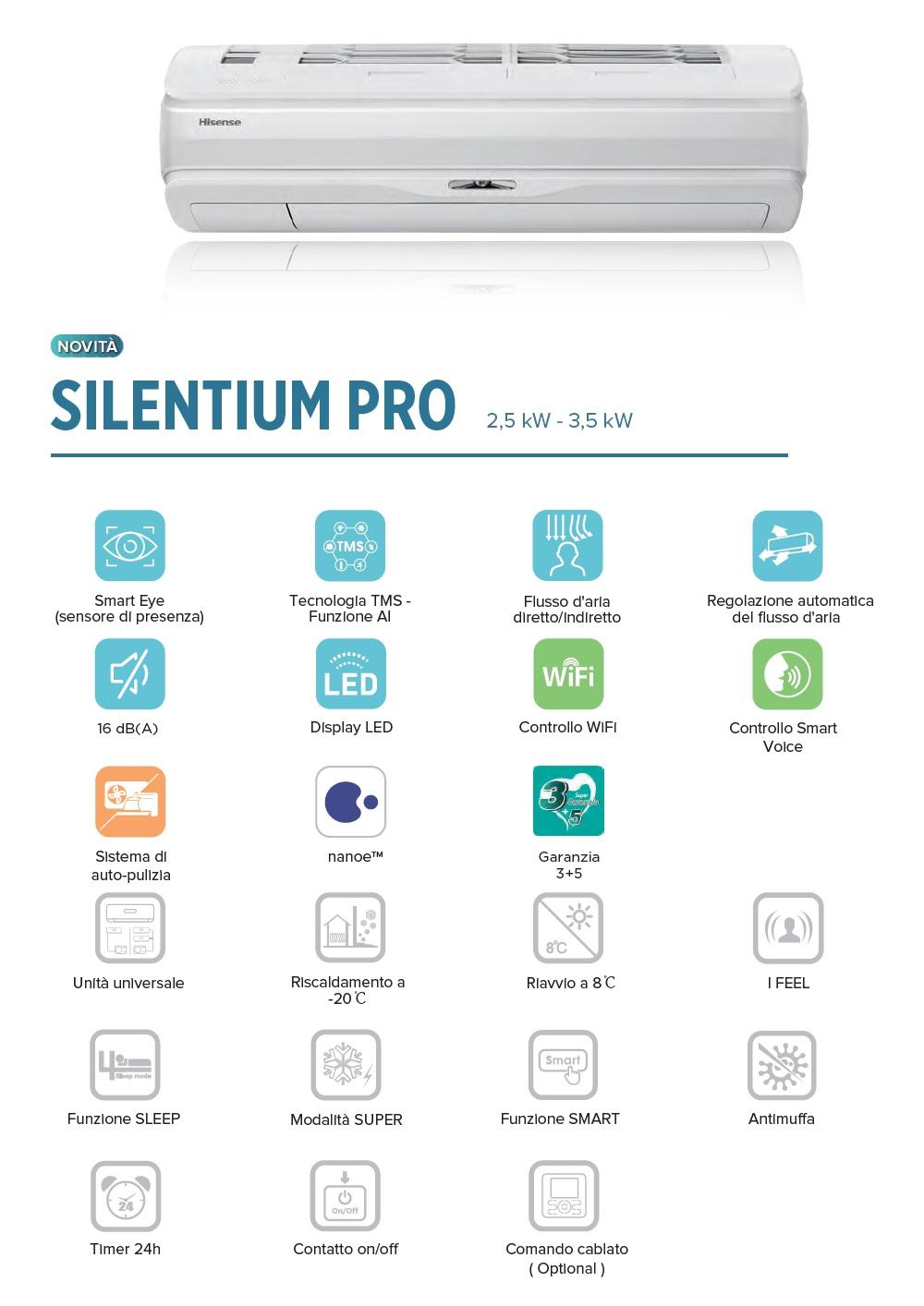 Condizionatore Hisense Mono Split 12000 Btu Serie Silentium PRO