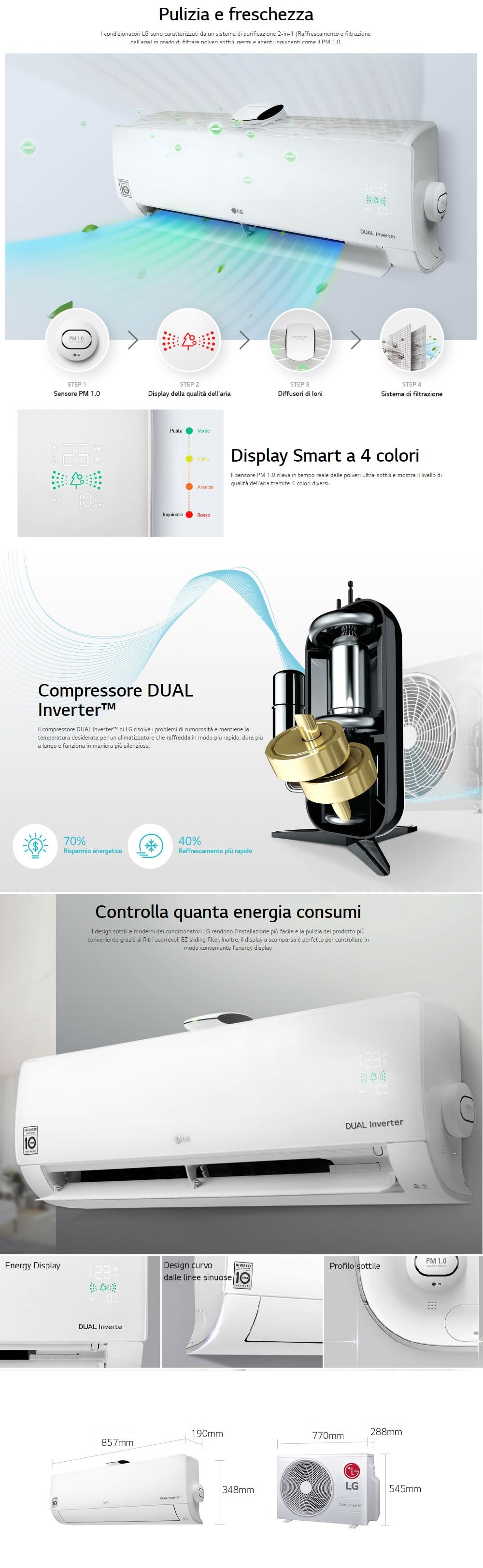 Climatizzatore LG Mono Split 9000 Btu Serie Atmosfera Inverter A++ A+