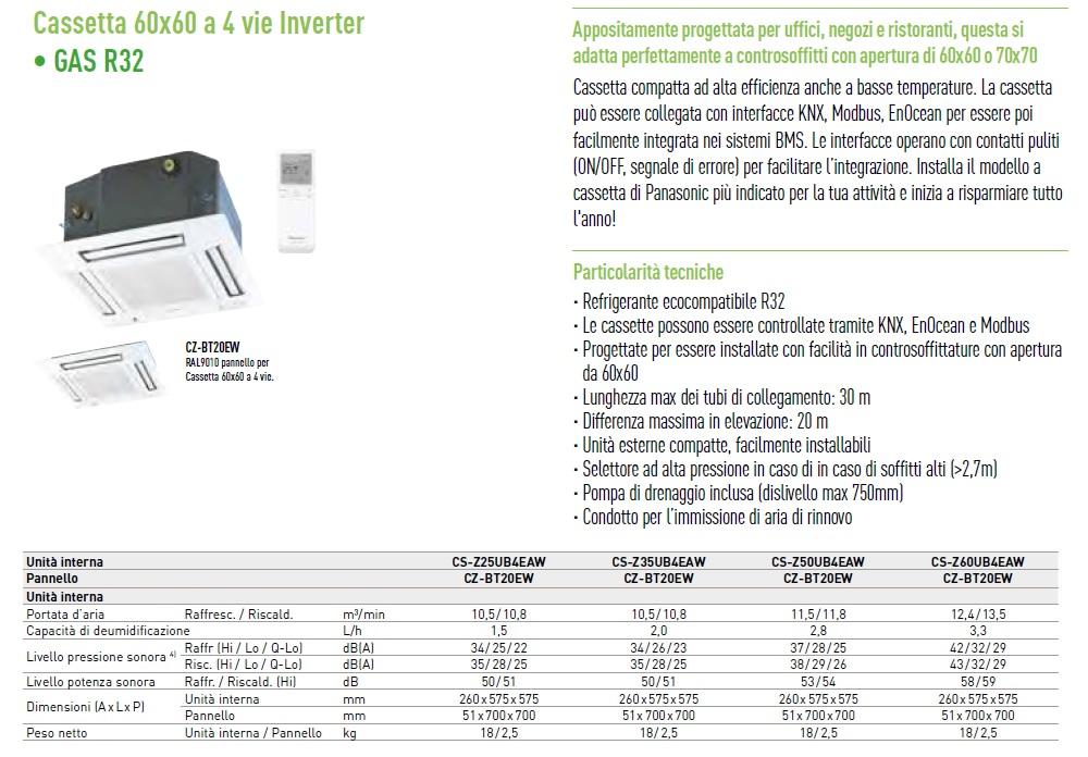 Condizionatore Panasonic Dual Split 12+12 Btu 60 x 60 4 vie CU-2Z50TBE